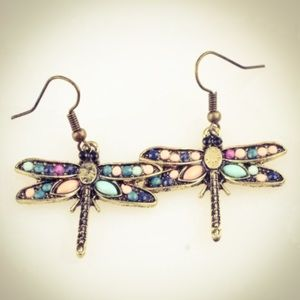 Vintage Antique Raw Stone Dragonfly Earrings